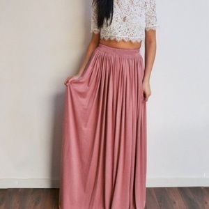 Rose Pink Maxi Skirt